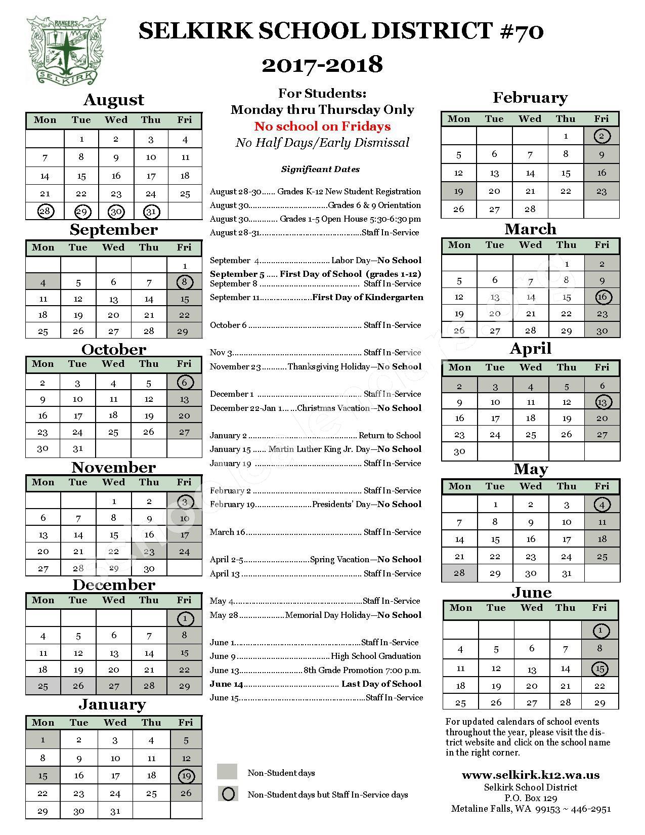 2017 - 2018 District Calendar – Wilbur School District – page 1