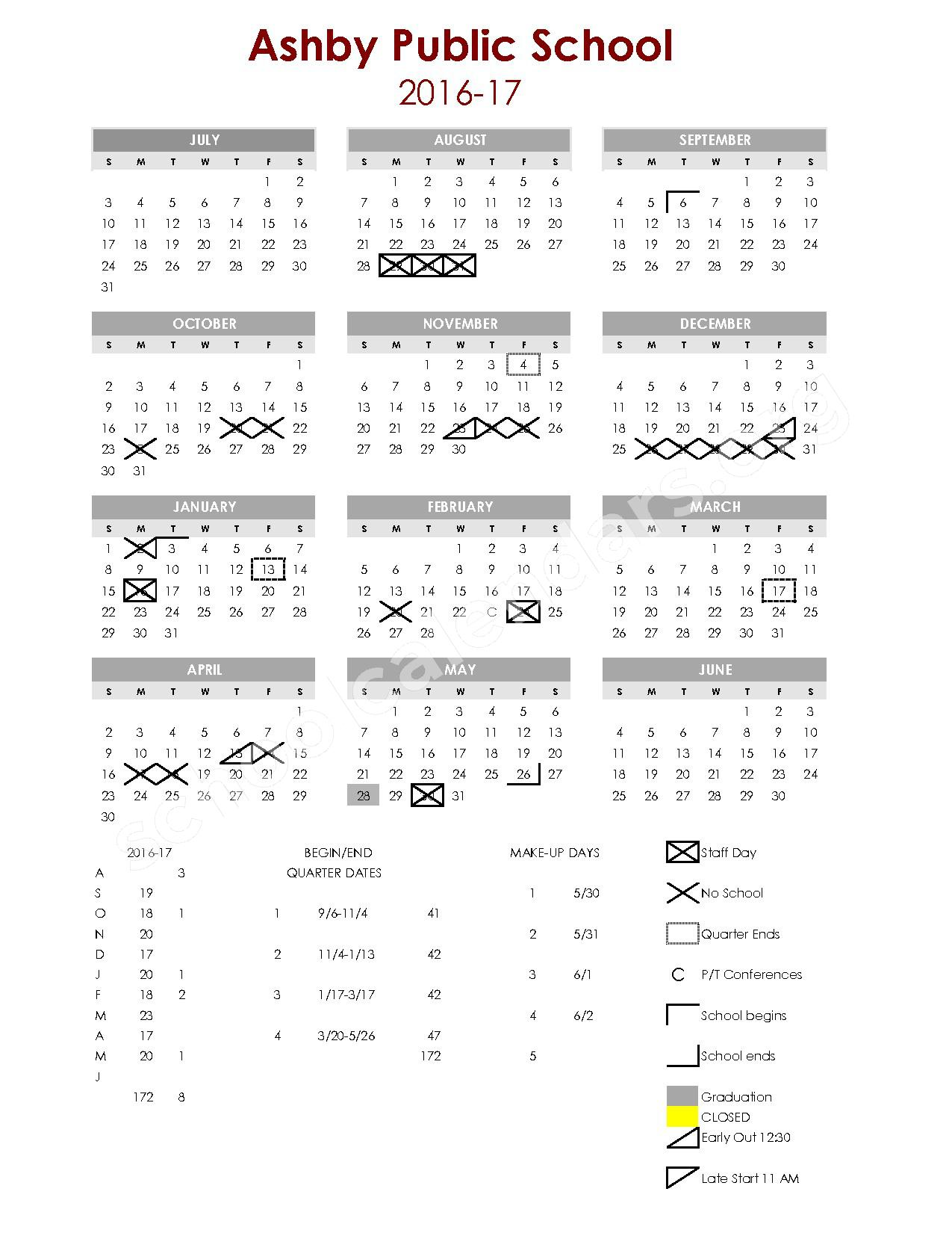 2016 - 2017 School Calendar – Ashby Public School District – page 1