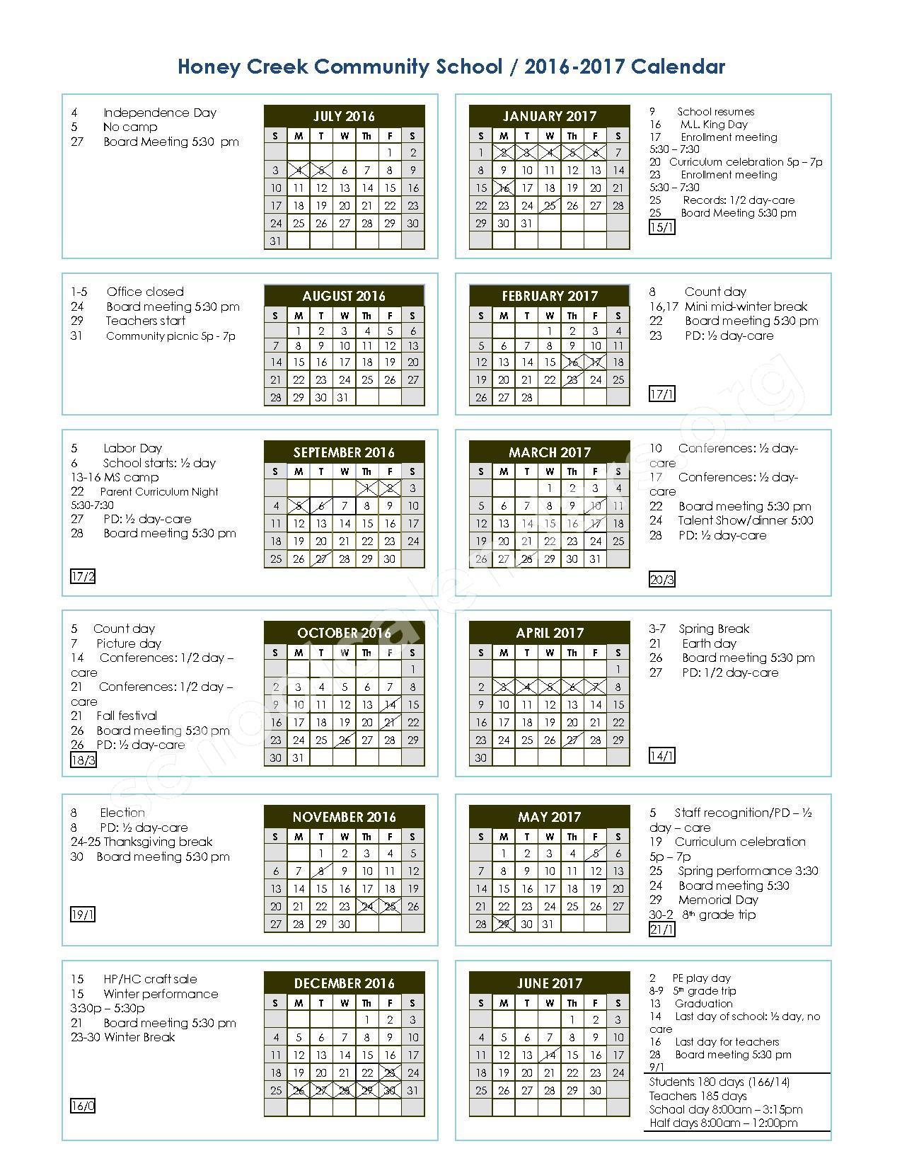 2016 - 2017 School Calendar – Honey Creek Community School – page 1