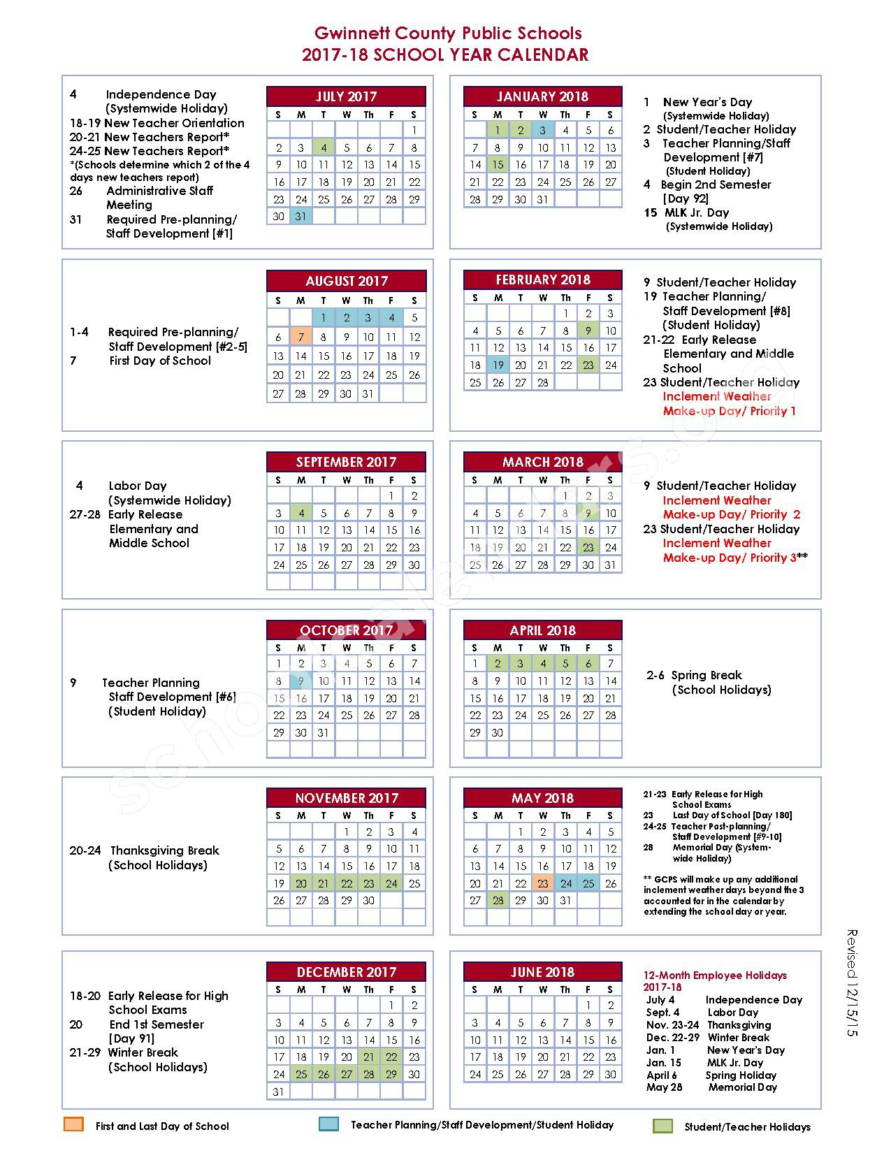 2017 - 2018 School Year Calendar – Gwinnett County School District – page 1