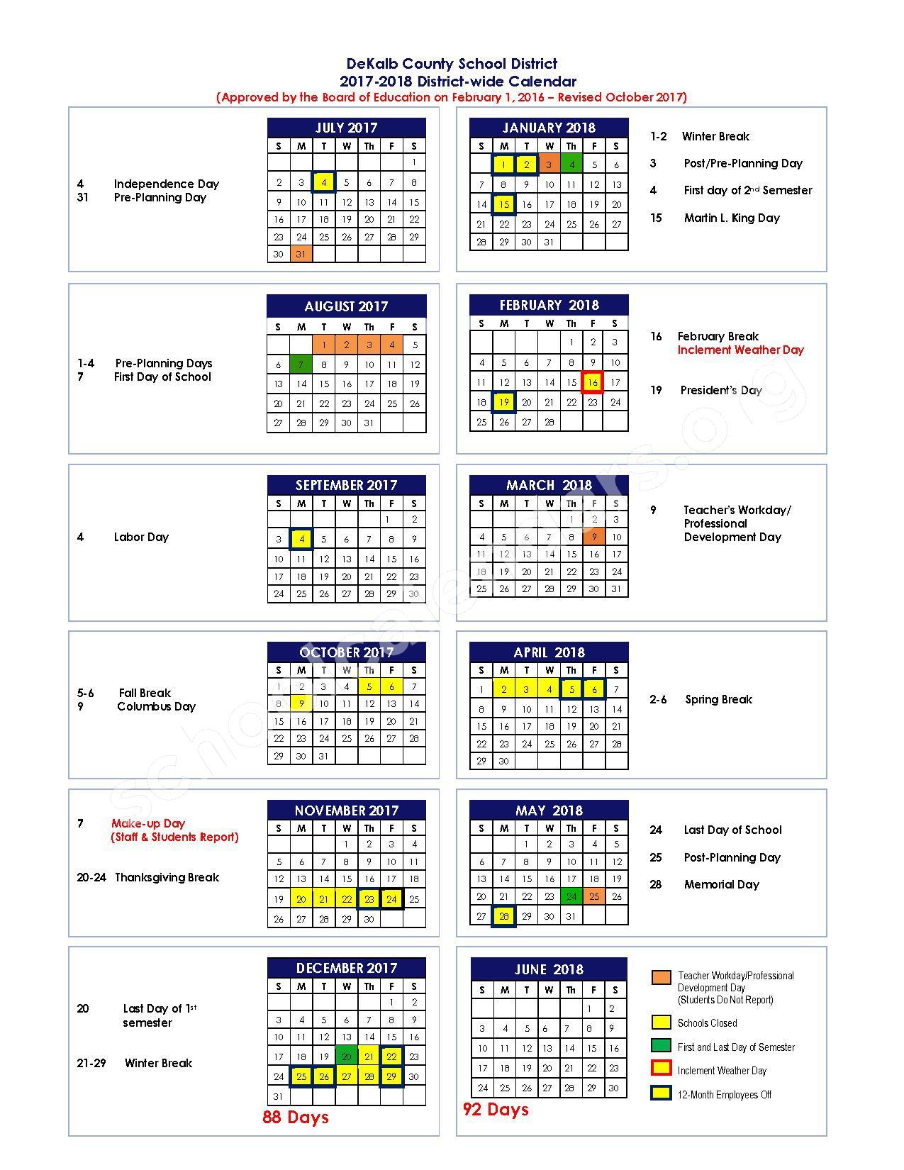 2017 - 2018 District Calendar – Dekalb County School District – page 1