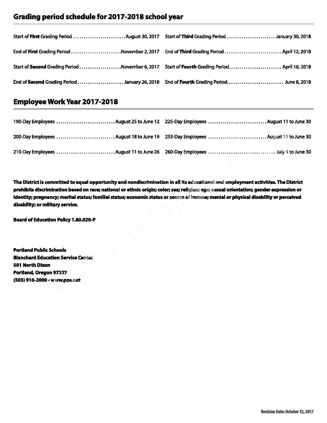 2017 - 2018 School Quarter Calendar – Portland Public Schools – page 2