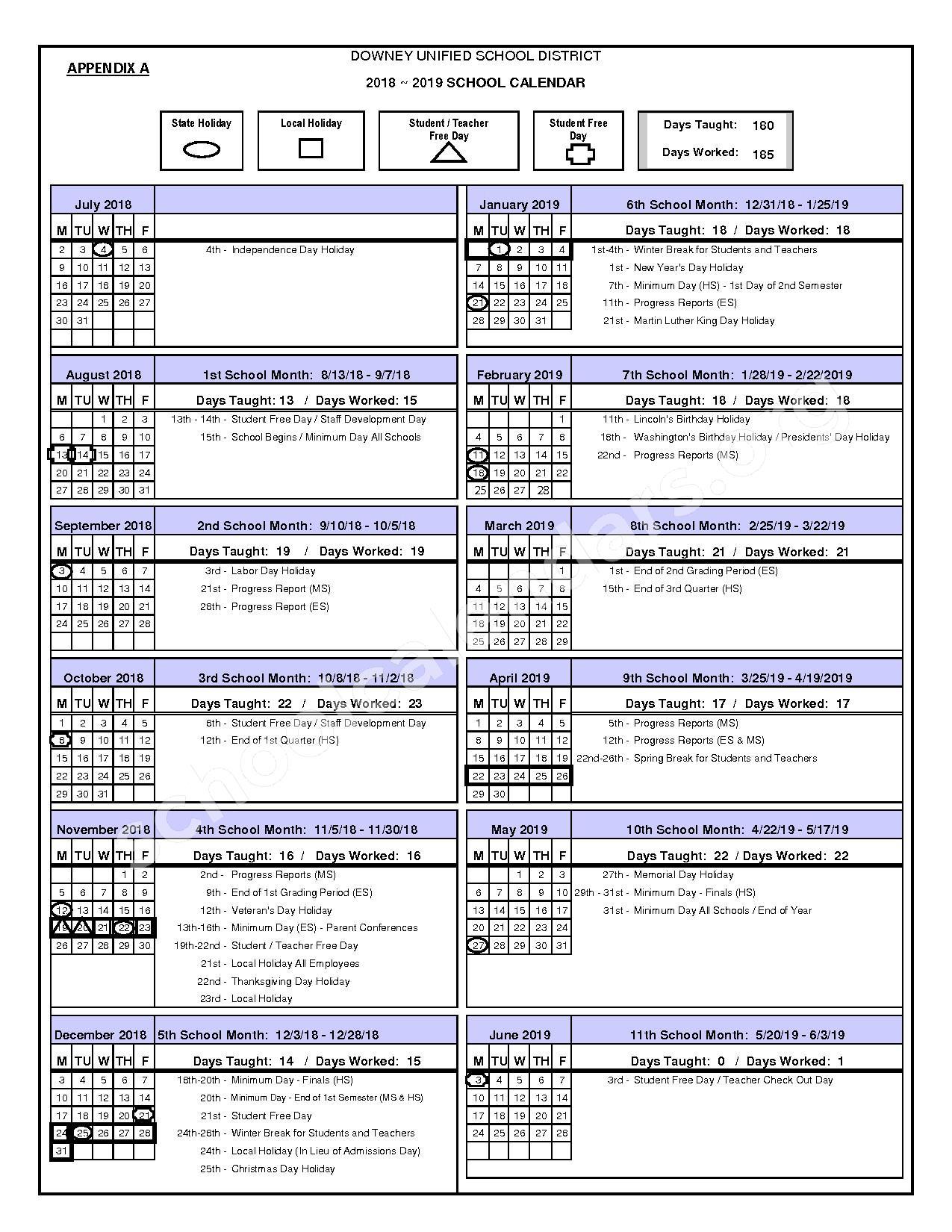 2018 - 2019 DUSD Calendar – Downey Unified School District – page 1