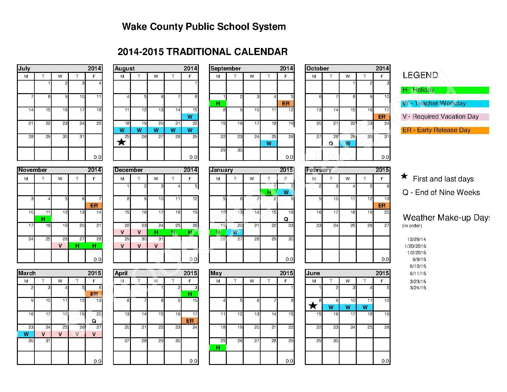 2014 2015 Traditional Calendar – Calendar Detail