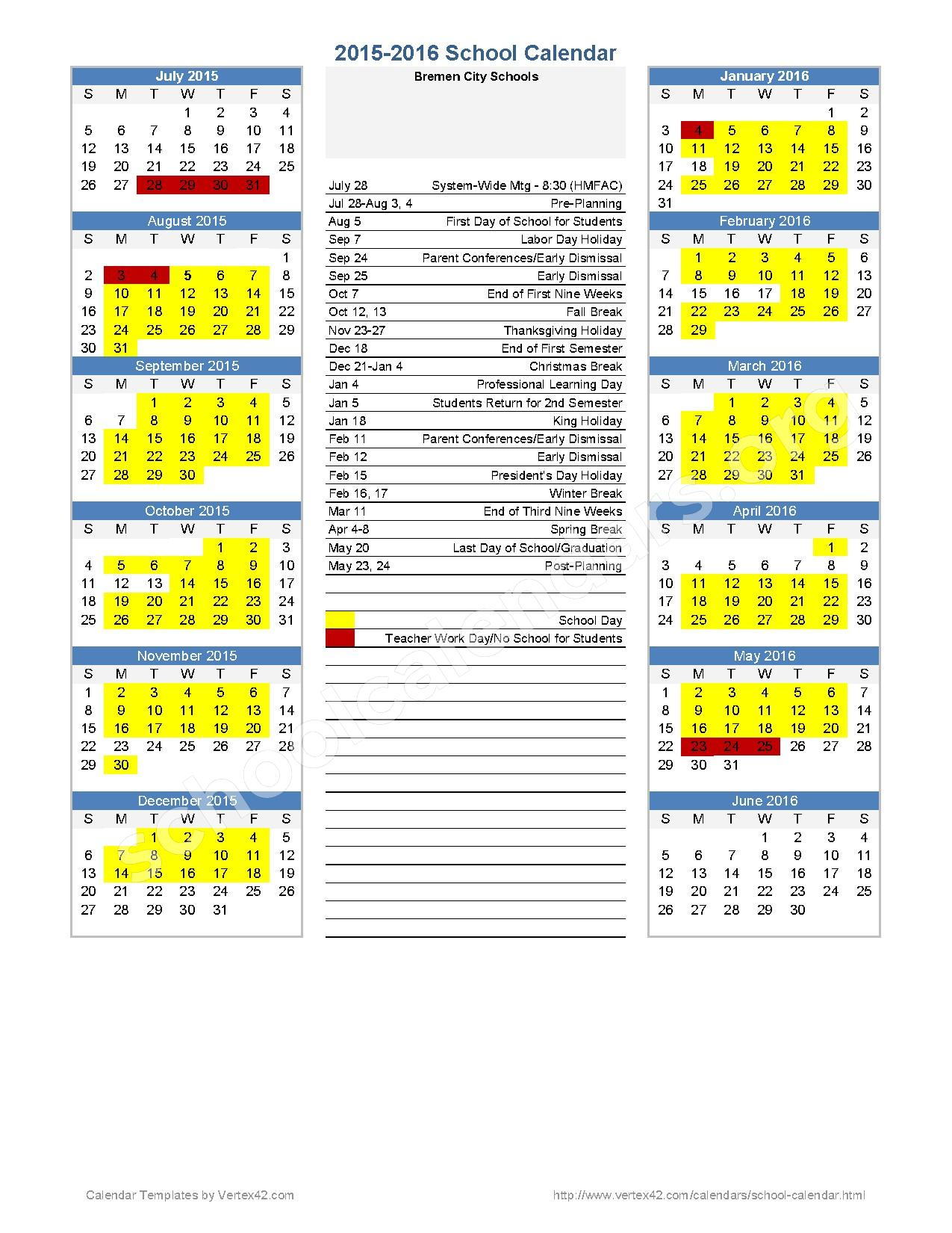 2015 - 2016 Annual Calendar – Bremen City School District – page 1
